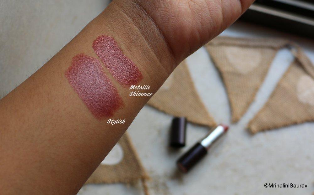 Rimmel Lasting Finish Lipstick Metallic Shimmer Stylish Arm Swatches