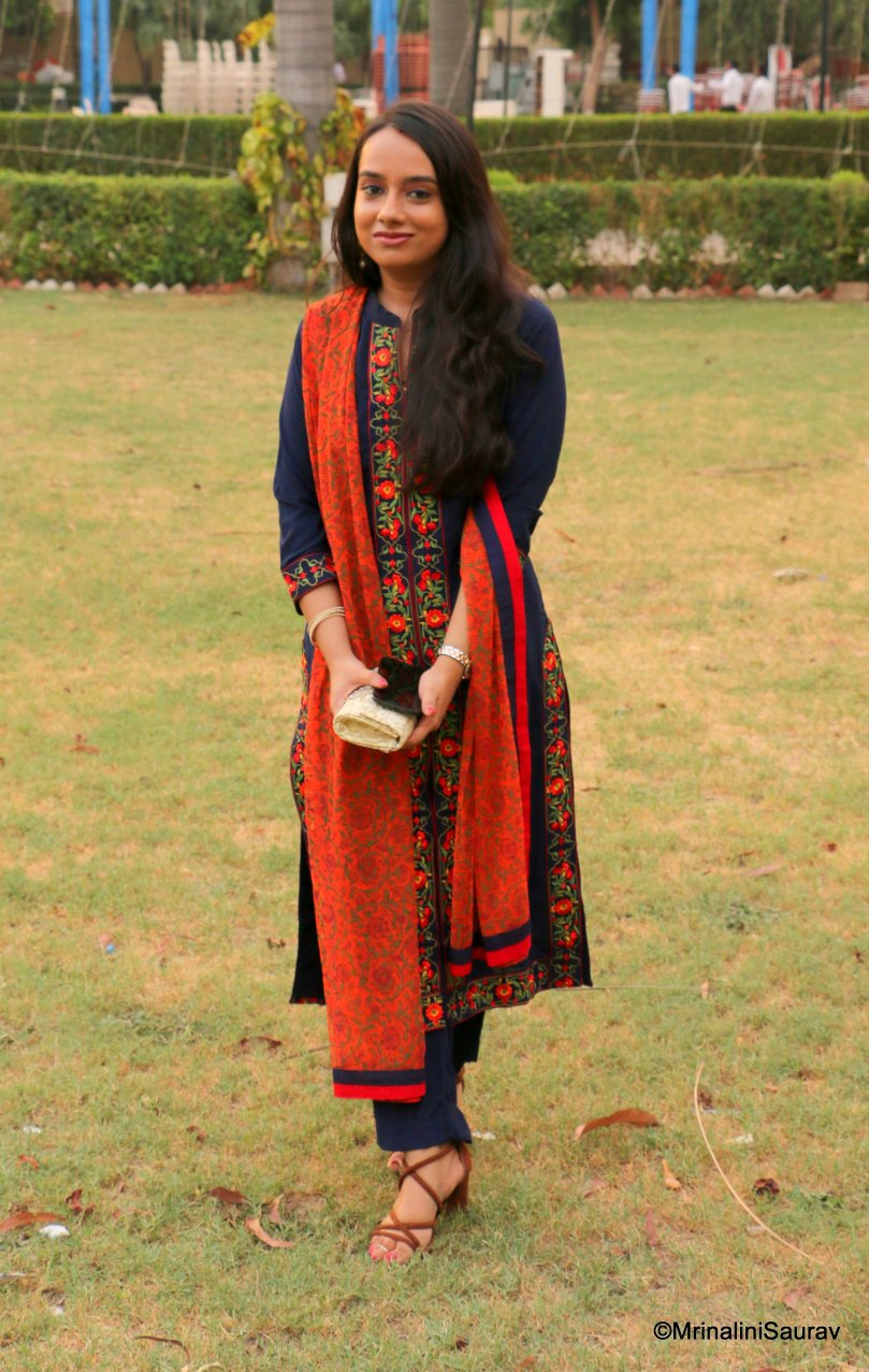 A-line Kurti Kurta Blue Orange Embroidery Wedding Guest Outfit