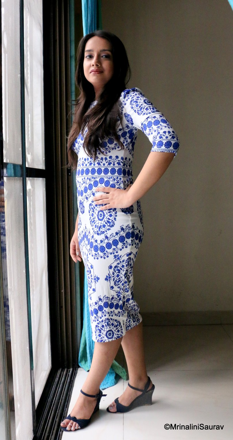 Shein Blue and White Porcelain Print Pencil Dress