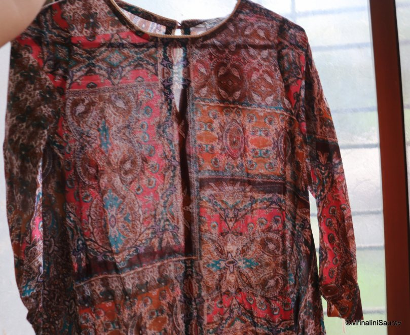 Oversized Flowy Printed Tunic Brown Ajio
