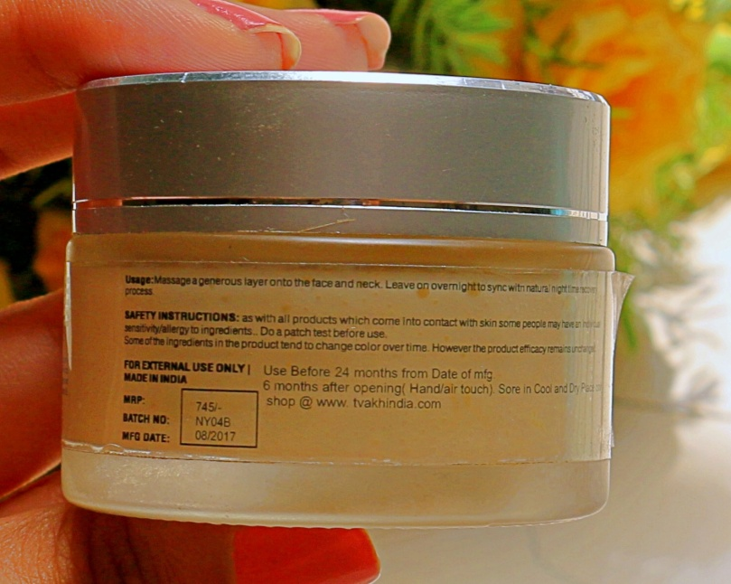 Tvakh Antioxidant Night Repair Creme | Review