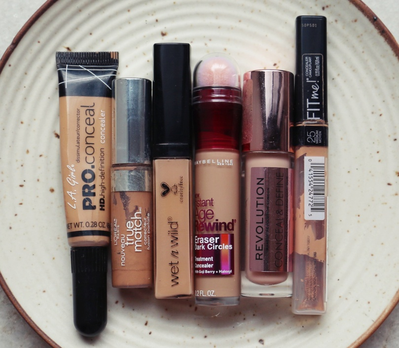 Battle of the Concealers   Loreal True Match vs Maybelline Fit Me vs Maybelline Age Rewind vs Wet n Wild Photo Focus vs L.A. Pro Conceal vs Makeup Revolution Conceal & Define Swatches Review