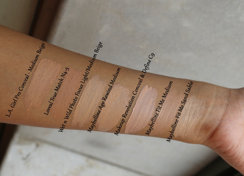Battle of the Concealers | Loreal True Match vs Maybelline Fit Me vs Maybelline Age Rewind vs Wet n Wild Photo Focus vs L.A. Pro Conceal vs Makeup Revolution Conceal & Define Review Swatches